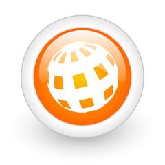 earth orange glossy web icon on white background.