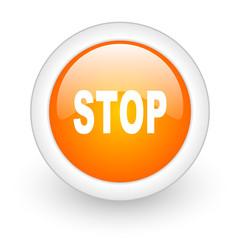 stop orange glossy web icon on white background.