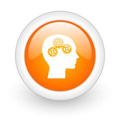 head orange glossy web icon on white background.