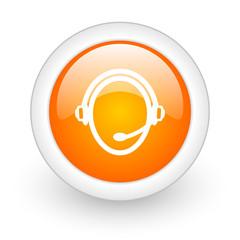 customer service orange glossy web icon on white background.
