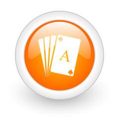 .card orange glossy web icon on white background.