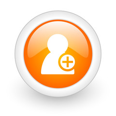 add contact orange glossy web icon on white background.