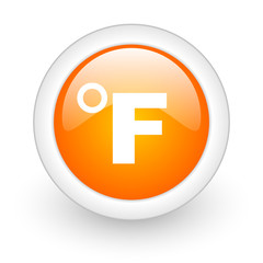 fahrenheit orange glossy web icon on white background.
