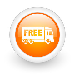 free delivery orange glossy web icon on white background.