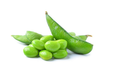 Green soybeans on white background