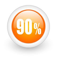 90 percent orange glossy web icon on white background.