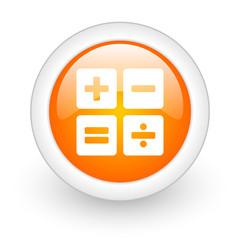 calculator orange glossy web icon on white background.