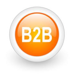 b2b orange glossy web icon on white background.