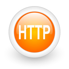 http orange glossy web icon on white background.