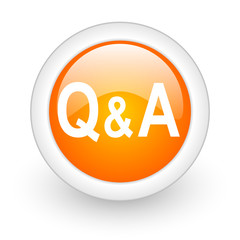 question answer orange glossy web icon on white background.