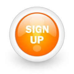 sign up orange glossy web icon on white background.