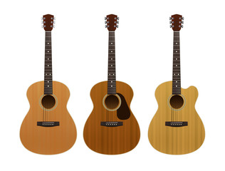 Set of acoustic guitars