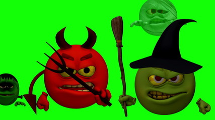 Monster Smiley Guys with Entry (Green Screen)