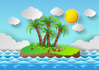 Tropical palm on island with sea and sun shine.vector illustrati