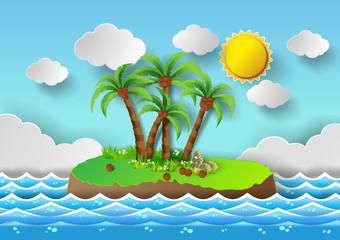 Tropical palm on island with sea and sun shine.vector illustrati