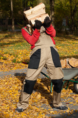 Man preparing firewood for winter