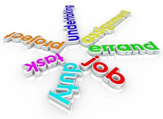 Job Task Errand Undertaking Assignment Duty 3d Words