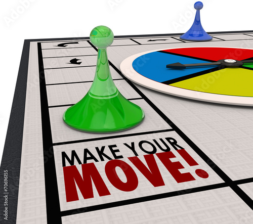 canvas print picture Make Your Move Board Game Piece Action Forward Turn