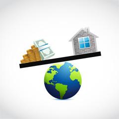 home and money globe balance illustration