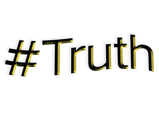 The word truth with a hash tag