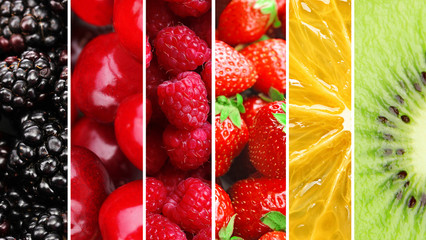 Colorful healthy fruit collage macro