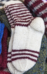 Wool socks are exposed to be sold