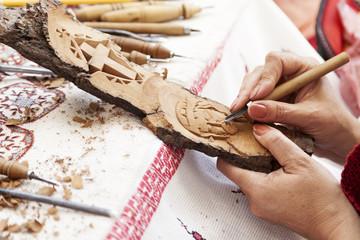 Workshop wood carvings