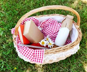 Tasty snack in basket