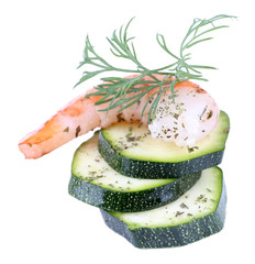 Fresh boiled prawns with avocado and dill