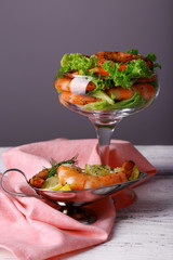 Fresh boiled prawns with lettuce in a goblet