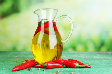Homemade natural infused olive oil with red chili peppers