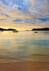 Tropical sunset at Seychelles
