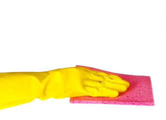 Cleaning surface in rubber gloves isolated on white