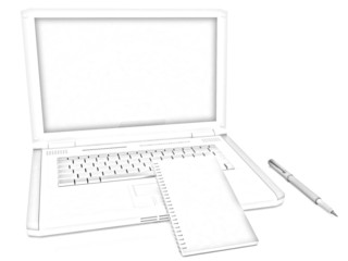 laptop and notepad. Pencil drawing