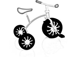 children bicycle. Pencil drawing