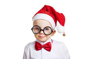 Kind mit Weihnachtsmütze zu Weihnachten