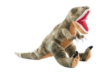 Dinosaurier aus Plüsch freigestellt oder isoliert auf Weiß