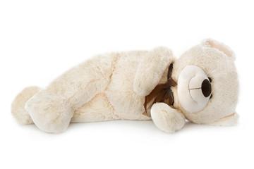 Schlafender Teddybär isoliert: Konzept für Pause oder Müdigkeit