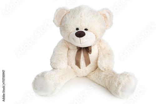 mata magnetyczna Weisser Teddybär freigestellt auf Weiß