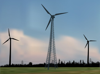 three wind power generator silhouettes in country landscape