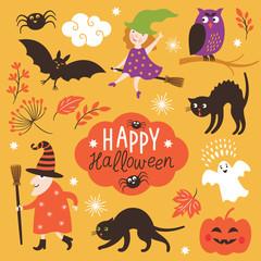 Set of cute vector Halloween elements