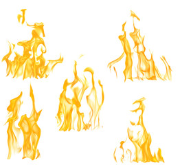 collection of five yellow flames isolated on white
