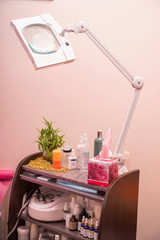 Modern cosmetology equipment in healthy beauty spa salon interio