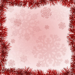 red tinsel frame on snowflake background