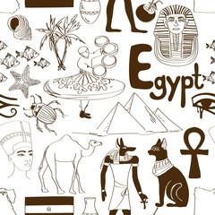 Sketch Egypt seamless pattern