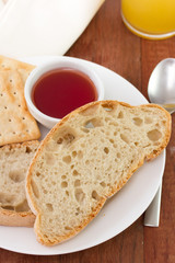 bread with jam and juice