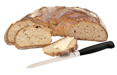 isolated image of bread with grains; bread and butter and a knif