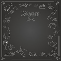 Menu design with a chalk board texture