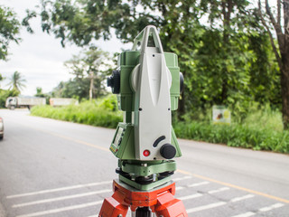 Surveyor equipment tacheometer or theodolite outdoors