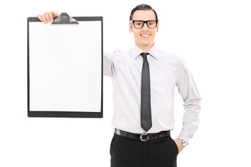 Elegant businessman holding a clipboard